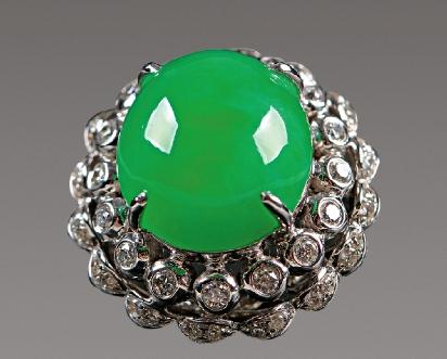 翡翠满绿戒指